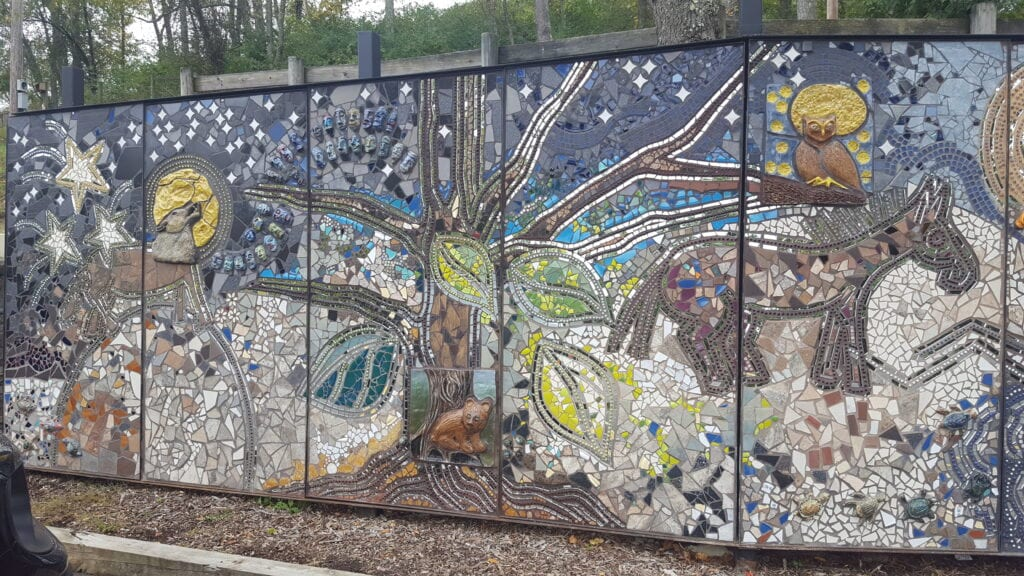 A mosaic public art piece is pictured in Morgantown.
