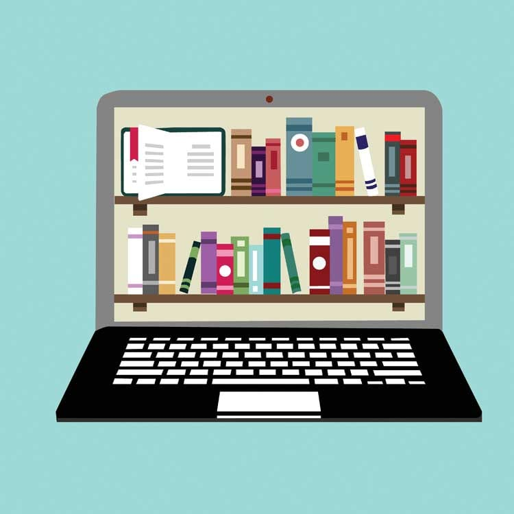 Illustrated computer with books on screen