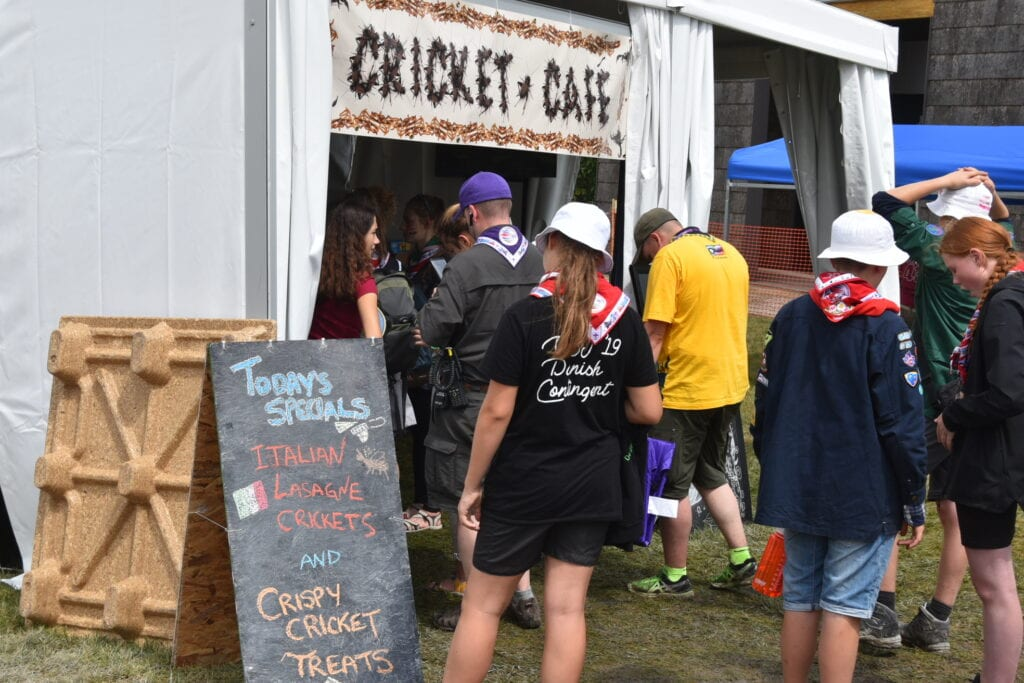 Scouts at the Boy Scout Jamboree waiting in line for food at the Cricket Cafe