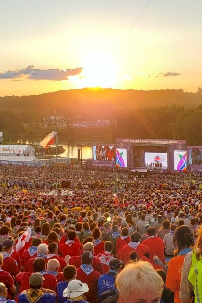Opening Ceremony at Boy Scout Jamboree overlooking field