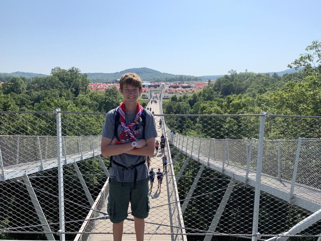 Boy on Consol Energy Bridge at Boyscout Jamboree showing his neckerchief